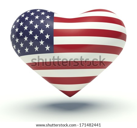 Heart with United States of America flag colors. 3d render illustration. - stock photo