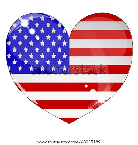 Heart with US flag texture isolated on a white background. - stock photo