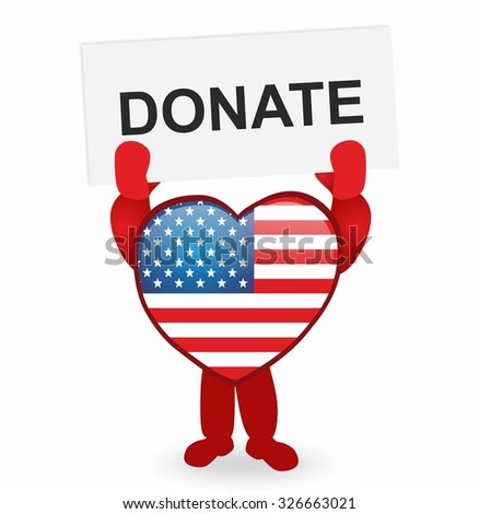 heart with usa flag holding a sign donate - stock photo