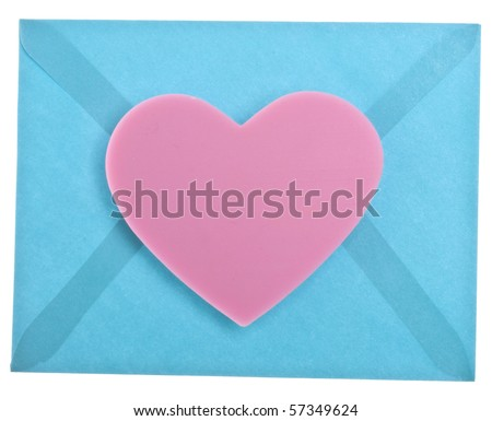 Heart with Vibrant Blue Envelope Love Letter Concept. - stock photo