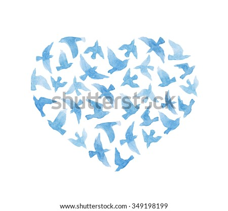 Heart with vintage birds for Valentine day. Watercolor - stock photo