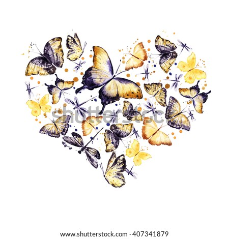 Heart with vintage butterflies. Decorative element for Valentine day. Watercolor - stock photo