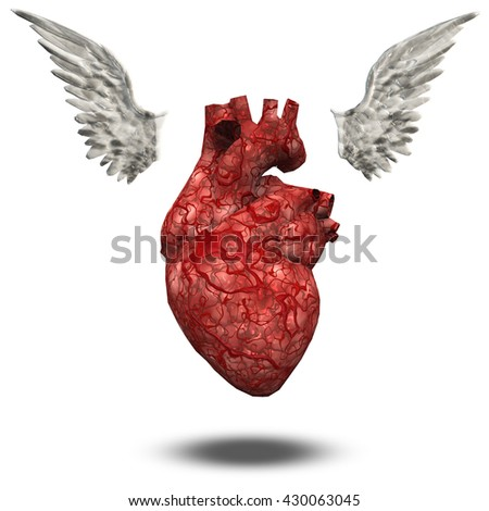 Heart with wings 3d Render - stock photo