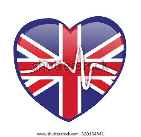 heartbeat and heart with british flag - stock photo