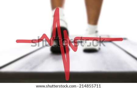 Heartbeat  and sportsman on treadmill in the background - stock photo