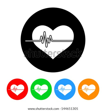 Heartbeat Icon with Color Variations.  Raster version, vector also available. - stock photo