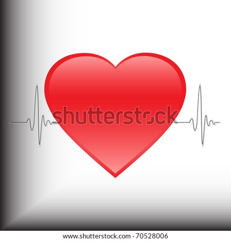 Heartbeat in the background of the electrocardiogram