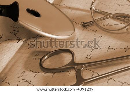 heartbeat trace macro - stock photo