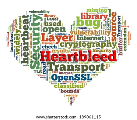 Heartbleed concept with tag cloud forming the heart shape on white background