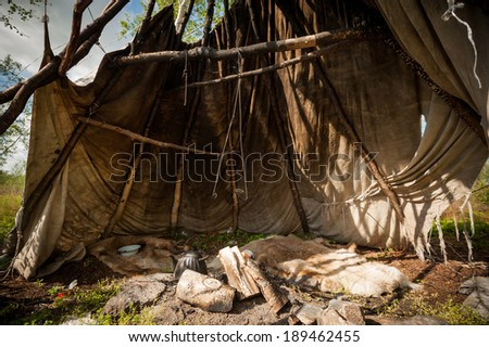 hearth and shelter shepherds in the north - stock photo