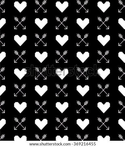 Hearts and arrows 8-bit Pixel-art Valentines Day seamless pattern (raster version). - stock photo
