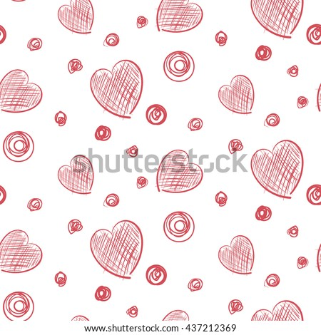 Hearts and Dots Simple hand drawn background seamless pattern raster