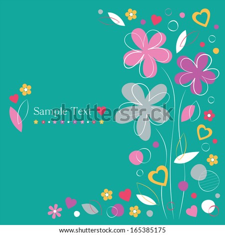 hearts and flowers greeting card on green background - stock photo