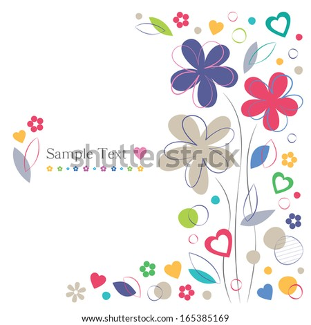 hearts and flowers greeting card on white background - stock photo