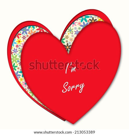 Hearts and Flowers - I'm Sorry - stock photo