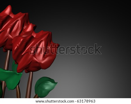 Hearts and Roses Artistic 3D Illustration Border Art - stock photo