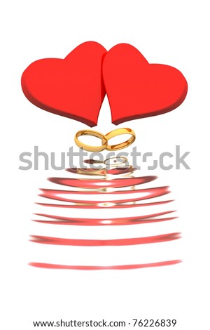 Hearts and  Wedding rings are reflection in waves. - stock photo