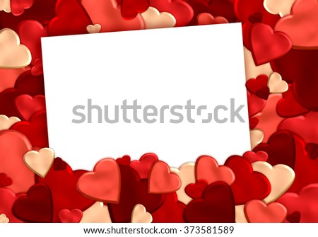hearts background with blank sheet of white paper - stock photo