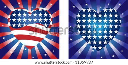 Hearts  Background with Stars and Stripe in american flag colors