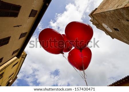 Hearts baloons - stock photo