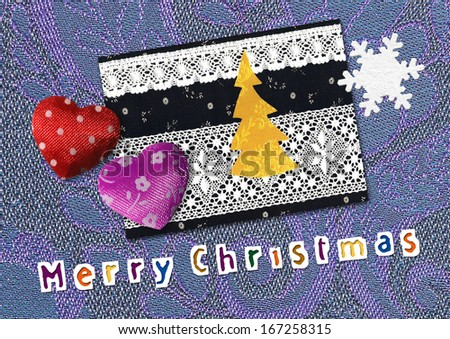 hearts, Christmas tree, Christmas decoration, card - stock photo