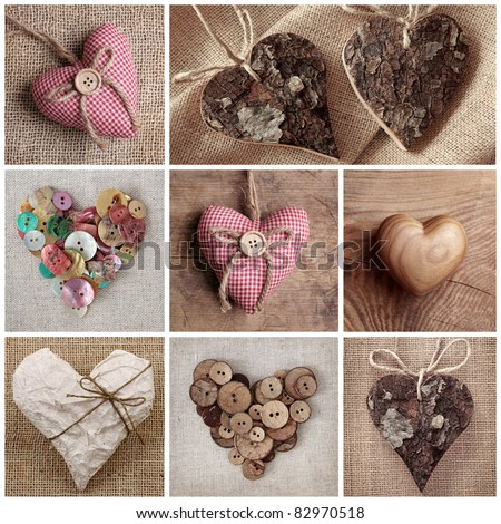 Hearts collage - stock photo