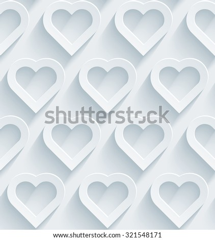 Hearts 3d seamless background. White perforated paper with cut out effect.  - stock photo
