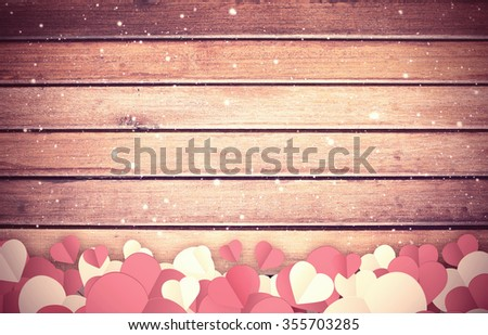 Hearts for Valentines Day Background, wood texture background - stock photo