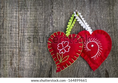 Hearts in wooden background with amazing colors - stock photo