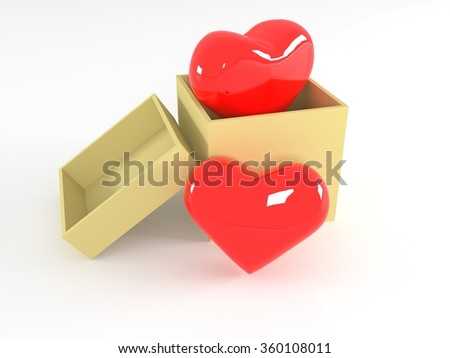 Hearts in yellow box. 3d illustration isolated on white background - stock photo