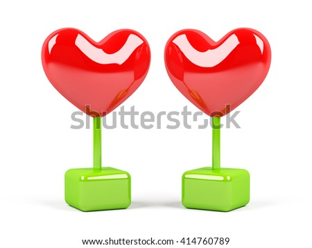 Hearts  isolated on white background. 3D rendering image. - stock photo