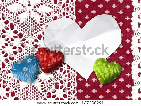 hearts, lace decoration, card - stock photo