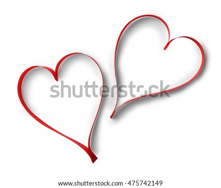 Hearts made of red ribbon isolated on white