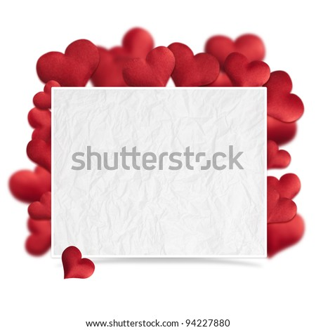 Hearts of fabric, Valentines day card. - stock photo