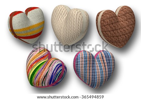 Hearts of knitted fabric.Isolated on a white background.A set of six pieces individually.The horizontal location of the pictures. - stock photo