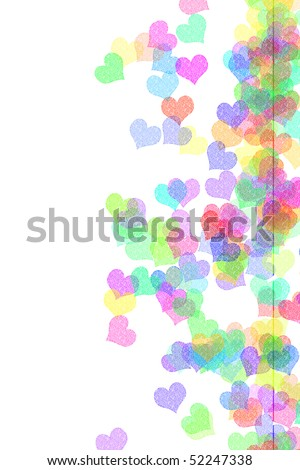 hearts of many colors drawn on a white background - stock photo