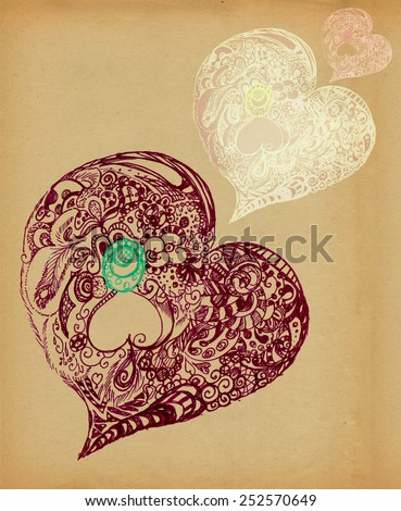 Hearts of ornaments, illustration. Decorative Style, Basis drawn in pencil. - stock photo