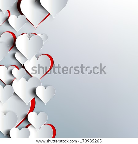 Hearts on abstract love background.Be my valentine.Love romantic messages with hearts.February 14.Valentines day card,banner.Global love day, may 1.Three dimensional red hearts shapes. - stock photo