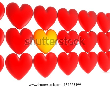 hearts on white background. Isolated 3D image - stock photo