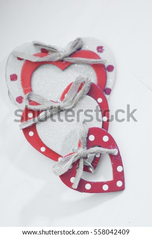 Hearts out of cardboard and paper. garland of hearts, Valentine's day