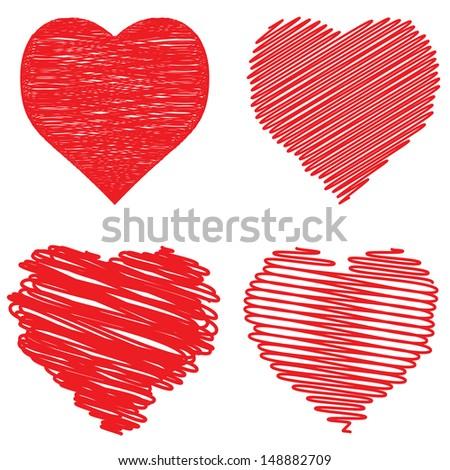 Hearts set. - stock photo