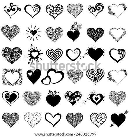 Hearts set for wedding and valentine design. Collection heart isolated on white background.  illustration  - stock photo