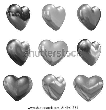 Hearts set for wedding design on a white background - stock photo