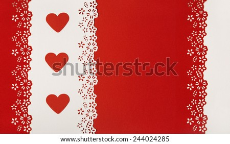 Hearts Shape on Red Background. Valentine Day or Wedding Greeting Card Empty Template. Love concept. - stock photo