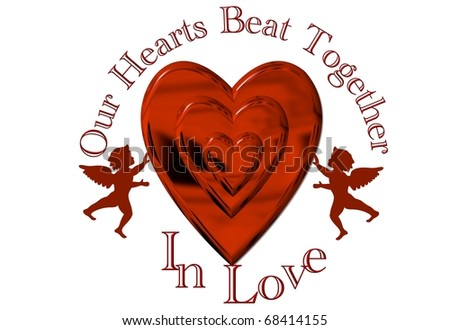 Hearts together - stock photo