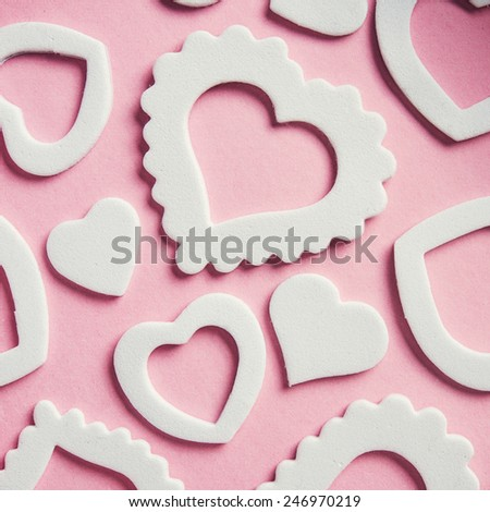 Hearts white shape on ping. Valentine Day background.