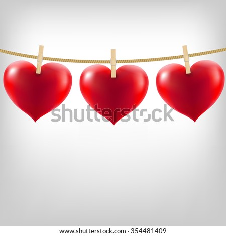 Hearts With Clothespegs - stock photo