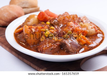 hearty and healthy lamb stew - stock photo