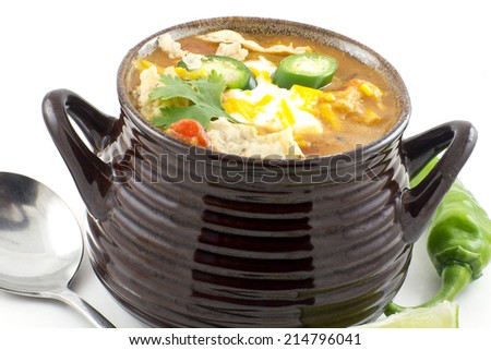 Hearty and spicy tortilla soup with hot peppers and cilantro garnish - stock photo