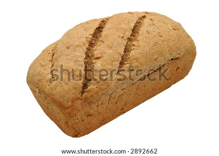 Hearty Bread Loaf - Multi grain bread, homemade with 100% organic ingredients: whole wheat, buckwheat, rye & barley flour, sesame seed, sunflower seed, rolled oats, molasses, rock salt, yeast & water. - stock photo